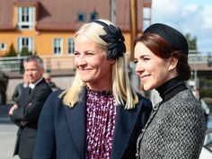 ready4royalty:  Crown Princess Mette-Marit of Norway and Crown Princess Mary of Denmark together in Kristiansand to commemorate the 150th anniversary of the naval battle of Heliogoland, May 9, 2014