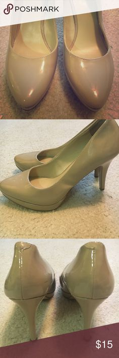 Nude patent leather pumps, size 7 Nine West nude patent leather pumps, size 7. Heel height is 4.5 inches, platform is 1 inch. Still a lot of wear left!! Nine West Shoes Heels