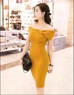 Đầm ôm body trễ vai nơ màu vàng - A8113