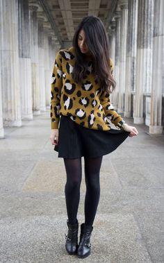 Leopard sweater + black skirt