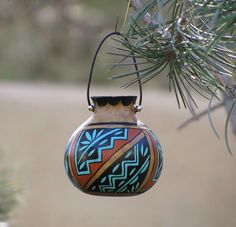 Southwestern Handpainted Gourd Pot Ornament by AChristmasbyCarol, $20.00