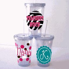 Personalized Acrylic Tumblers with Straw