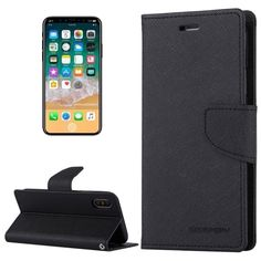 [$3.35] MERCURY GOOSPERY FANCY DIARY for iPhone X Cross Texture Horizontal Flip Leather Case with Card Slots & Wallet & Holder(Black)