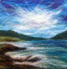 Felted Artwork-Original felted landscapes by Tracey McCracken Palmer. Wet felting and needle felting techniques are used to create beautiful works of art. Wet Felting Projects, Needle Felting Tutorials, Felt Projects, Felted Wool Crafts, Felt Crafts, Wool Felting, Nuno Felting, Felted Scarf, Felt Wall Hanging