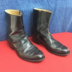 VINTAGE black cowboy boots Made in USA  w10.5 m8.5 Excellent condition for their age... No noticeable issues... Stamped 8.5 D Unbranded Shoes Ankle Boots & Booties