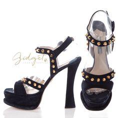 Gidget Loves These Prada Size 38.5 Midnight Blue Suede Studded Flared Heel Platform Sandals