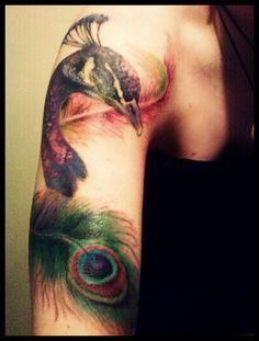 colorful peacock tattoo