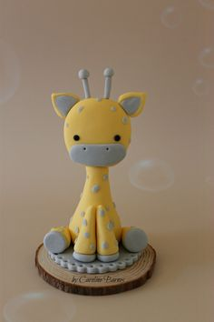 Fondant giraffe baby shower cake topper - Love Cake Create