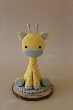 Fondant giraffe baby shower cake topper