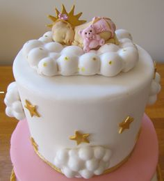 Baby on a cloud. Baby shower cake