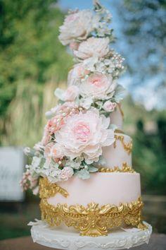 Cake by Alex Narramore, The Mischief Maker   Blush and Gold Sugar Flower Wedding Cake I Peony Wedding Cake   Rose Wedding Cake I Sugar Cabbage Roses   Monogram Wedding Cake #mischiefmakercakes #themischiefmaker #bemischievious