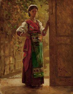 """Italian Girl,"" William Morris Hunt, 1867–1872, oil on panel, 10 9/16 x 8 3/8"", Worcester Art Museum."