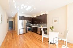 Kitchen and dining area in a stylish duplex on Carroll Street in Gowanus, Brooklyn Nyc Real Estate, Real Estate Sales, Dining Area, Kitchen Dining, Brooklyn Kitchen, Boerum Hill, Carroll Gardens, Brooklyn Heights, Brooklyn New York