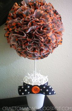DIY Halloween Cupcake Liner Topiary - Really cute!-could use same idea with different wrappers for a party or shower