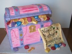 Pink Treasure Chest & Map By djs328 on CakeCentral.com