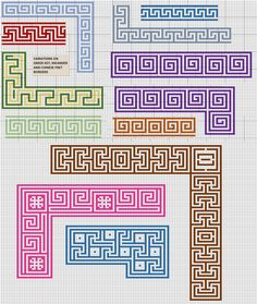 Meander patterns for borders of rugs.