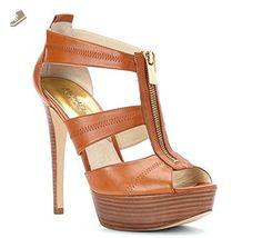 MICHAEL Michael Kors Berkley Mid Sandals LUGGAGE LEATHER SHOES (6) - Michael michael kors pumps for women (*Amazon Partner-Link)