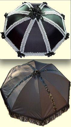 Lace and ribbon black parasols - Gothic umbrella fashion