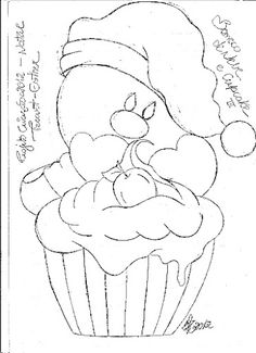 risco de boneco de neve com cupcake