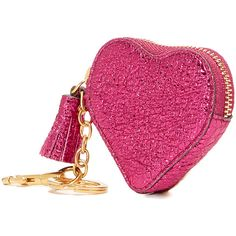 Anya Hindmarch Heart Coin Pouch ($280) ❤ liked on Polyvore featuring bags, wallets, raspberry, change purse, leather coin pouch, lock wallet, coin purses and leather coin purse