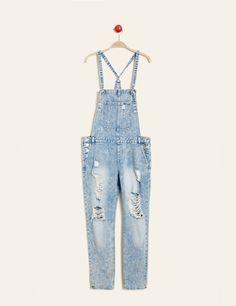 Salopette en jean destroy bleu clair femme • Jennyfer • 15€