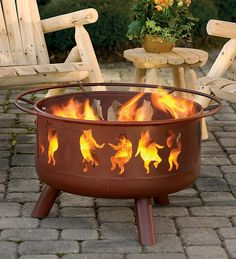 Steel Dancing Bears Outdoor Fire Pit with Cooking Grill