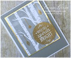 A La Cards - SU - Christmas card featuring the Among the Branches stamp set and coordinating Woodland embossing folder