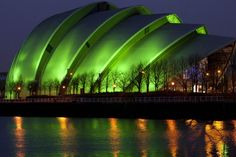 The Clyde Auditorium, Glasgow, Scotland. Also known as the Armadillo, this will go green on March 17.
