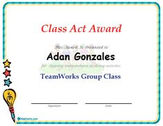 Class Act Award - TeamWorks Group Class