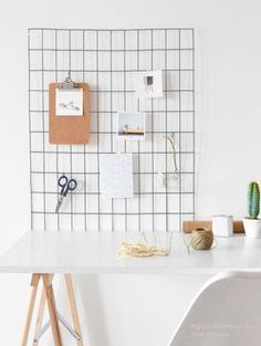 Effortless way to keep office supplies organized: Grid. Minimal and chic.