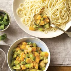 Angel Hair with Green-and-Yellow-Tomato Sauce
