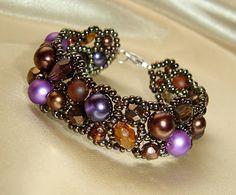 lila-barna aszimmetrikus karkötő / purple-brown asymmetric bracelet