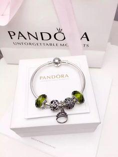50% OFF!!! $159 Pandora Bangle Charm Bracelet Green. Hot Sale!!! SKU: CB02073 - PANDORA Bracelet Ideas