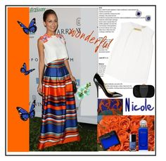 """""""Bright Stripes - Nicole Richie"""" by ikaba ❤ liked on Polyvore featuring GALA, MICHAEL Michael Kors, Lafonn, NARS Cosmetics, Hermès, Emilio Pucci, Christian Louboutin and Chanel"""