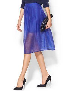 Piperlime Collection Sheer Stripe Midi Skirt ($89)