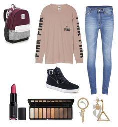 """""""#PINK (teen) middle school outfit"""" by hannahandmaya03 ❤ liked on Polyvore featuring Victoria's Secret and Cheap Monday"""
