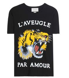 Black, yellow and white printed cotton T-shirt
