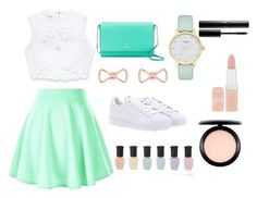 """""""Green and Nude"""" by shyneex ❤ liked on Polyvore featuring Bebe, adidas, Kate Spade, Ted Baker, Deborah Lippmann, Rimmel, MAC Cosmetics and Surratt"""