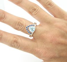 Engagement Ring Blue Topaz Trillion Ring Blue by FRomaG on Etsy