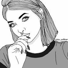 art, drawings, and girl kép Tumblr Girl Drawing, Tumblr Drawings, Girl Drawing Sketches, Dark Art Drawings, Cartoon Girl Drawing, Cool Drawings, Tumblr Outline, Outline Art, Outline Drawings
