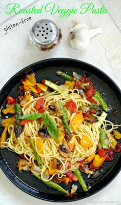 GLUTEN FREE ROASTED VEGGIE PASTA ~ In this tasty gluten free pasta recipe the vegetables are roasted al dente in their flavourful juices and then tossed with your favourite pasta. This simple pasta recipe takes just minutes to prepare, making this a favourite anytime vegetarian meal