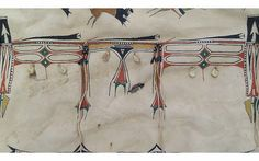 """Buffalo Hunters"" Elk Robe This beautiful painted #elk #robe portrays the excitement of a #buffalo hunt and features the relationship between the People or Oyate and these great animals. #PrairieEdge"