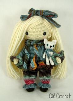 Crochet Amigurumi Doll In Winter Pants Outfit with Plushie Cat