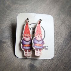 Kitsch Red Garden Gnome / dwarf  fabric Earrings by VuelaVuela, $24.00  These are AWESOME!!!