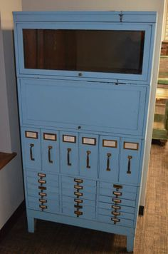 Early 20th century Barrister Cabinet/File System in blue-painted steel   From a unique collection of antique and modern cabinets at http://www.1stdibs.com/furniture/storage-case-pieces/cabinets/