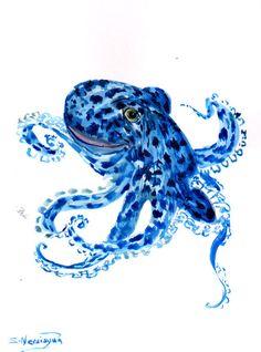 Blue Octopus, Original watercolor painting, 12 X 9 in