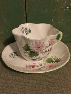 """Royal York Cup and Saucer Fine Bone China; """"Wild Flowers"""" Cup and Saucer Petite; Vintage Fine Bone China Cup and Saucer Set by Pamsplunder on Etsy"""