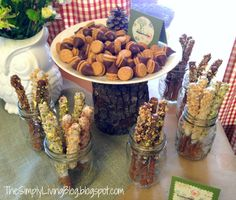 Woodland Creature Baby Shower~~like the choc covered pretzels in mason jars, I HAVE jars!!