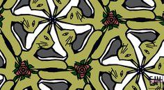 Title  Cat / Shoe / Rose  Artist  Elizabeth McTaggart  Medium  Digital Art - Digital Art #tessellations #fun #cards