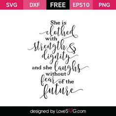 *** FREE SVG CUT FILE for Cricut, Silhouette and more *** Proverbs 31:25